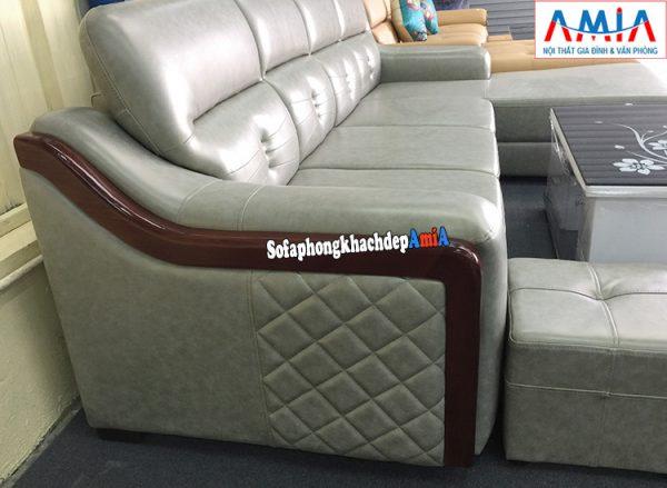 Hình ảnh phía cạnh ghế sofa da góc phòng khách lớn thiết kế độc đáo, sáng tạo