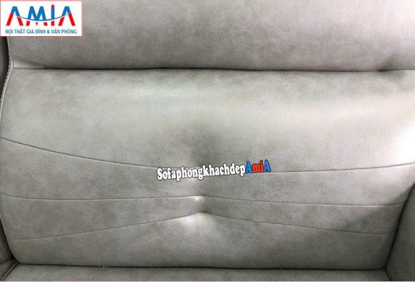 Hình ảnh phần tựa lưng ghế sofa da góc thiết kế rút khuy hiện đại
