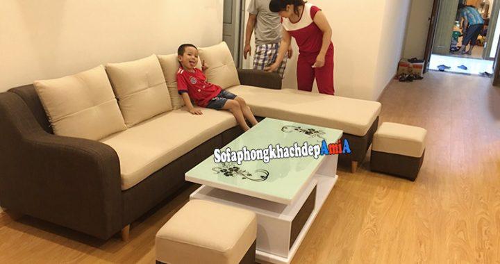 Mẫu ghế sofa văng giá rẻ cho phòng khách chung cư dạng sofa nỉ chữ L