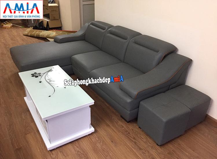 Hình ảnh Mẫu sofa da cho phòng khách đẹp nhà phố nhà chung cư