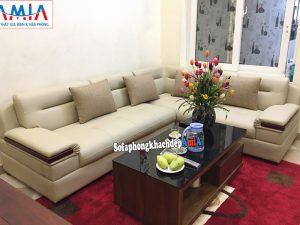 Hình ảnh Sofa da góc nhập khẩu Hàn Quốc cho phòng khách đẹp hiện đại