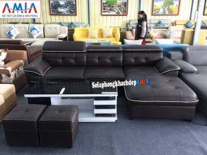 Hình ảnh ghế sofa da góc phòng khách cao cấp kích thước lớn thiết kế hình chữ L