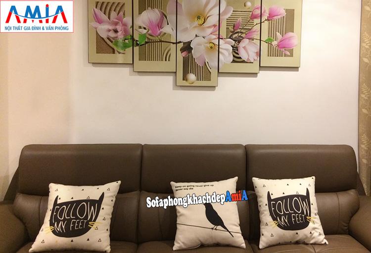 Hình ảnh Ghế sofa da nhập khẩu cho phòng khách đẹp hiện đại chung cư