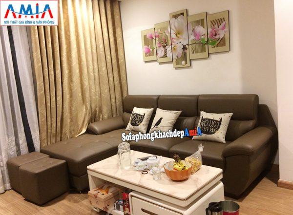 Hình ảnh Sofa da nhập khẩu Malaysia kê phòng khách đẹp chung cư nhỏ xinh
