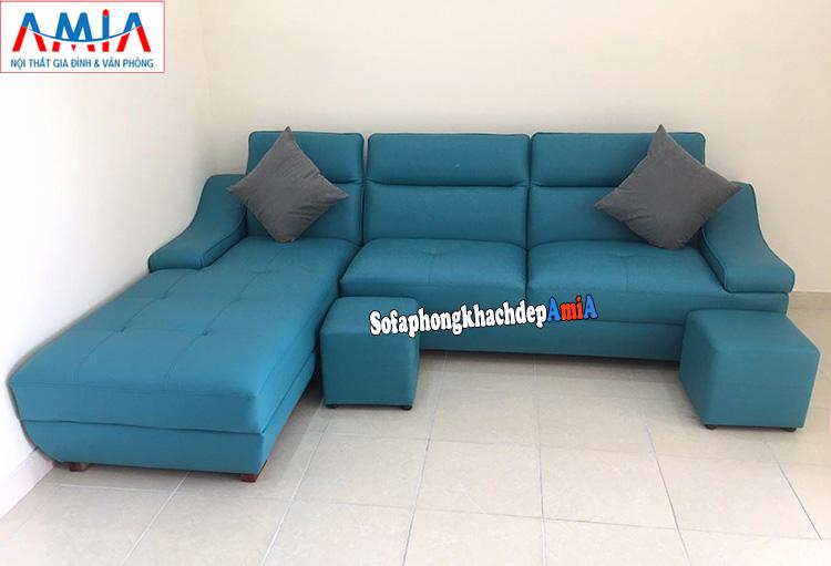 Hình ảnh Mẫu sofa góc chữ L cho chung cư gam màu xanh cô ban độc đáo