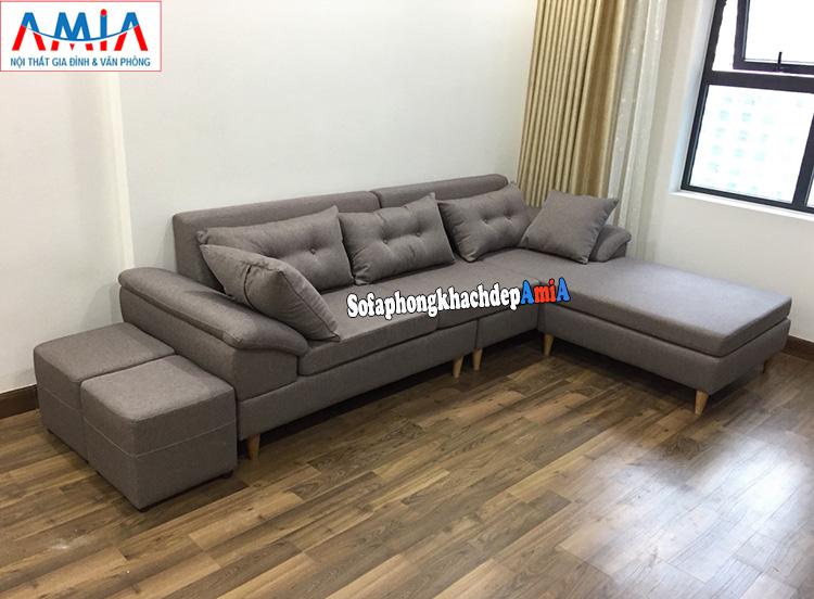 Hình ảnh Ghế sofa nỉ chữ L cho phòng khách chung cư thiết kế hiện đại và tiện lợi