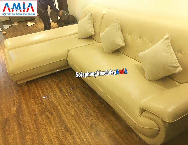 Hình ảnh Ghế sofa phòng khách bằng da cho chung cư đẹp hiện đại hình chữ L độc đáo