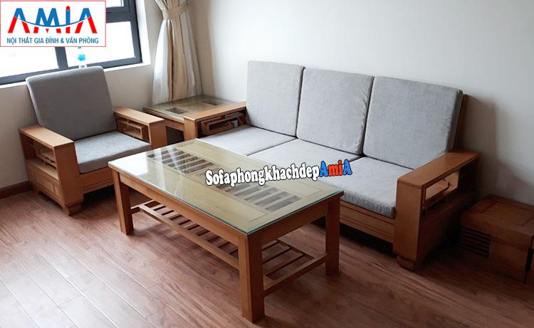 Hình ảnh Bàn ghế gỗ Sồi phòng khách đẹp hiện đại cho nhà chung cư tích hợp đệm nỉ êm ái
