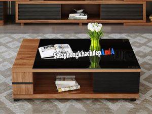 Hình ảnh Bàn phòng khách đẹp gỗ kính màu đen hiện đại và sang trọng