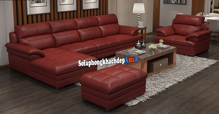 Hình ảnh bộ bàn ghế sofa da phòng khách cao cấp gam màu đỏ nổi bật