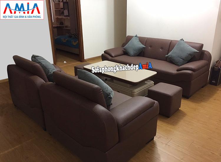 Hình ảnh Bộ bàn ghế sofa giá rẻ Hà Nội gồm 1 ghế văng + 2 ghế sofa đơn có tay vịn
