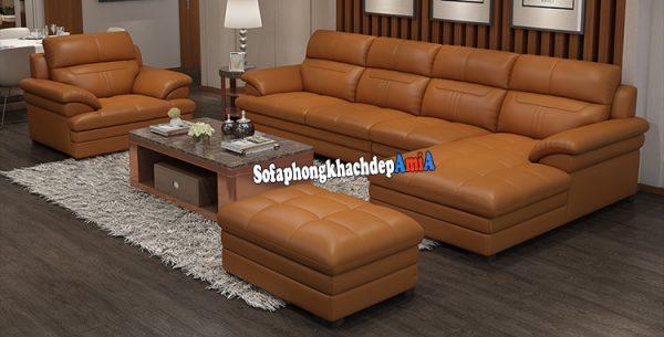 Hình ảnh Bộ ghế sofa bằng da cao cấp màu da bò hiện đại