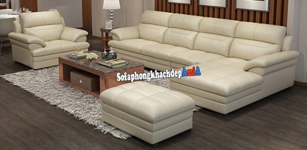 Hình ảnh Bộ ghế sofa da Hà Nội phòng khách đẹp màu trắng hiện đại