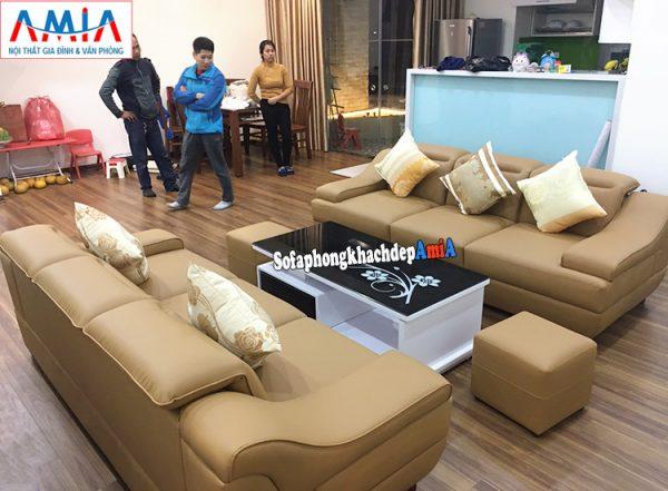 Hình ảnh ghế sofa văng bằng da Malaysia cho phòng khách nhà chung cư lớn