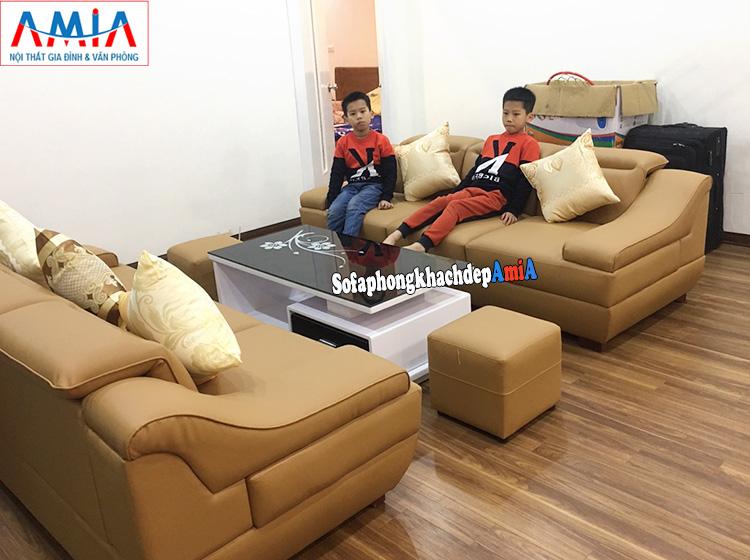 Hình ảnh sofa da văng làm theo yêu cầu kích thước 2m1 cho nhà chung cư