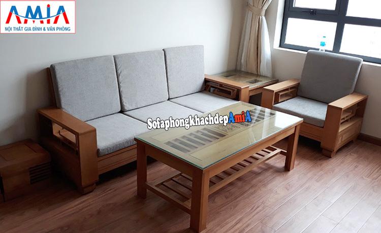 Hình ảnh sofa gỗ Sồi hiện đại dạng văng đẹp cho phòng khách chung cư hiện đại