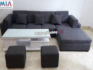 Hình ảnh Sofa góc bọc nỉ cho phòng khách đẹp thiết kế hiện đại và trẻ trung