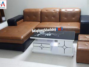 Hình ảnh Sofa góc da Hà Nội cho phòng khách đẹp nhỏ xinh xắn