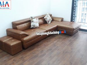 Hình ảnh Sofa góc đẹp giá rẻ kê phòng khách chung cư gần khu vực cửa sổ, ban công