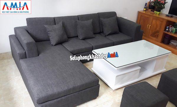Hình ảnh Sofa góc nỉ Hà Nội phòng khách nhỏ xinh xắn