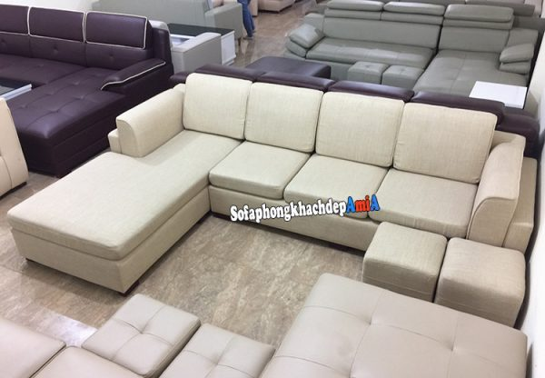 Hình ảnh Mẫu sofa nỉ đẹp phòng khách hình chữ L chụp tại Tổng kho sofa AmiA