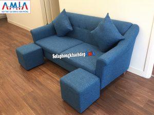 Hình ảnh sofa nỉ văng nhỏ cho nhà nhỏ thiết kế 2 chỗ tiết kiệm diện tích phòng khách chung cư