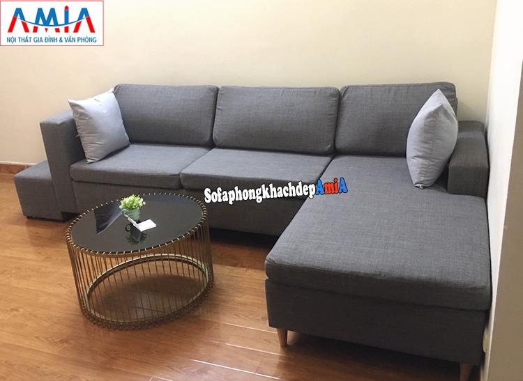 Hình ảnh sofa mua tại xưởng khu vực Hà Đông thiết kế hình chữ L hiện đại với chất liệu nỉ