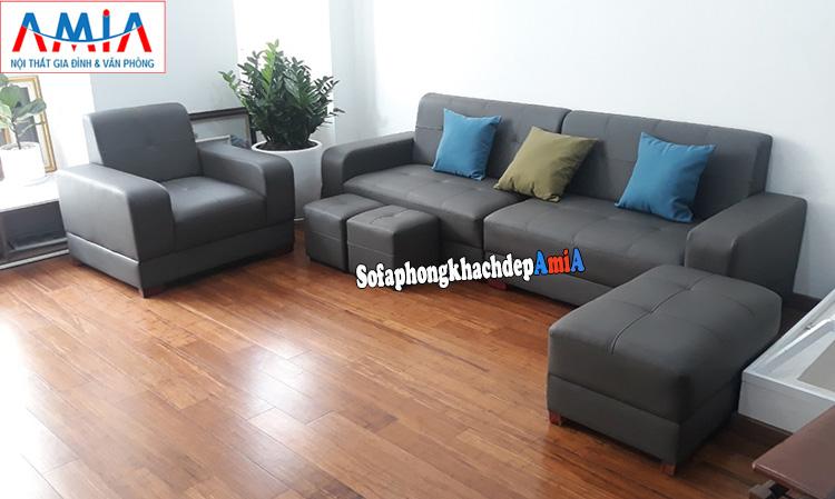 Hình ảnh Sofa văng da đẹp cao cấp phòng khách nhỏ xinh bài trí sát tường