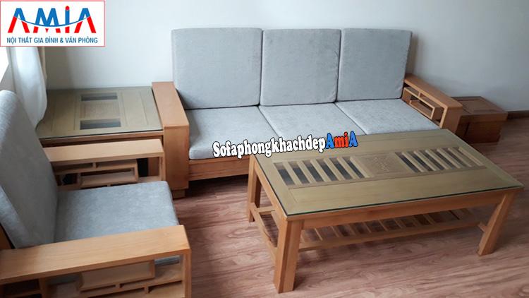 Hình ảnh Sofa văng gỗ Sồi cho phòng khách nhỏ nhà chung cư hiện đại