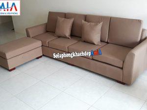 Hình ảnh Mẫu sofa văng nỉ nhỏ phòng khách có đôn lớn đi kèm