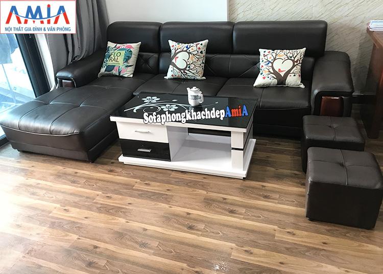 Hình ảnh Bàn ghế sofa góc nhỏ gọn cho phòng khách đẹp nhà phố, chung cư