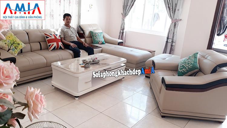 Hình ảnh ghế sofa nhỏ đơn có tay vịn kết hợp bộ ghế sofa da chữ L