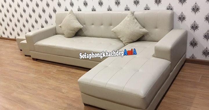 Hình ảnh ghế sofa da góc làm theo yêu cầu cho phòng khách lớn với kích thước lớn