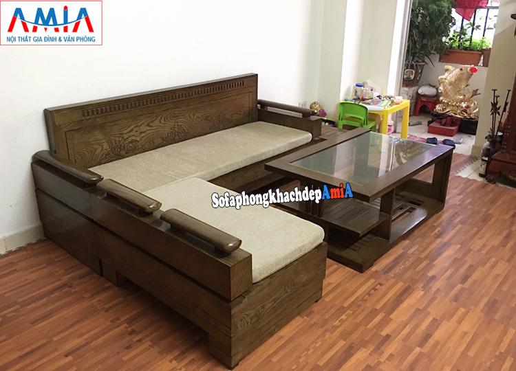 Hình ảnh Bộ ghế sofa gỗ làm theo yêu cầu đệm nỉ êm ái thay đổi về màu sắc, chất liệu nỉ dễ dàng