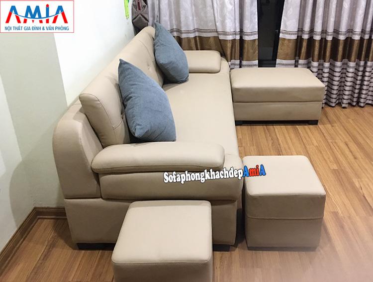 Hình ảnh Ghế sofa văng da đóng kích thước theo yêu cầu cho chung cư đẹp hiện đại
