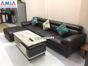 Hình ảnh Ghế sofa văng dài cho phòng khách chung cư kèm đôn lớn linh hoạt di chuyển