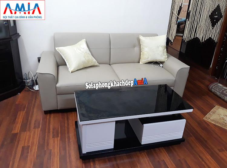 Hình ảnh Mẫu ghế sofa văng nhỏ 2 chỗ cho nhà nhỏ chất liệu da hiện đại