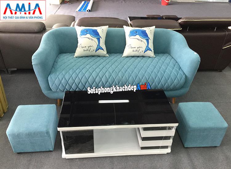 Hình ảnh Ghế sofa văng nhỏ đẹp cho phòng khách màu xanh độc đáo