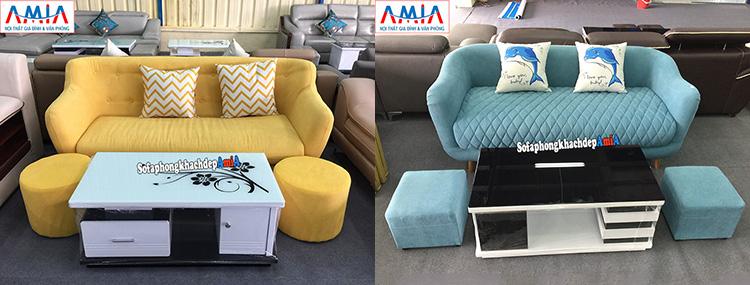 Hình ảnh ghế sofa loại nhỏ 2 chỗ chất liệu nỉ giá rẻ bất ngờ tại AmiA