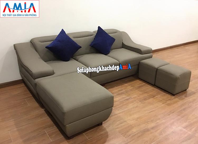 Hình ảnh ghế sofa nhỏ dạng văng 3 chỗ chất liệu da cho phòng khách chung cư