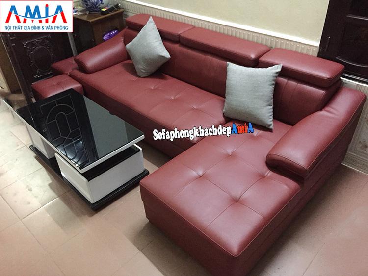 Hình ảnh Mẫu ghế sofa da góc chữ L đặt làm gam màu đỏ nổi bật theo yêu cầu cho phòng khách gia đình
