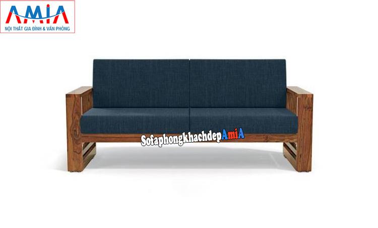 Hình ảnh Mẫu sofa gỗ nhỏ gọn giá rẻ cho nhà nhỏ dạng ghế sofa văng gỗ nhỏ xinh 2 chỗ có đệm nỉ