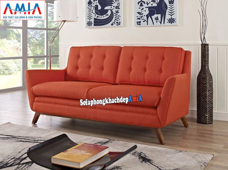 Hình ảnh Ghế sofa nhỏ xinh dạng văng 2 chỗ đẹp hiện đại màu đỏ cam nổi bật