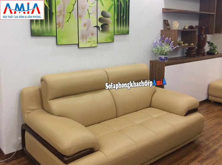 Hình ảnh Ghế sofa văng da nhỏ xinh kê phòng khách hiện đại