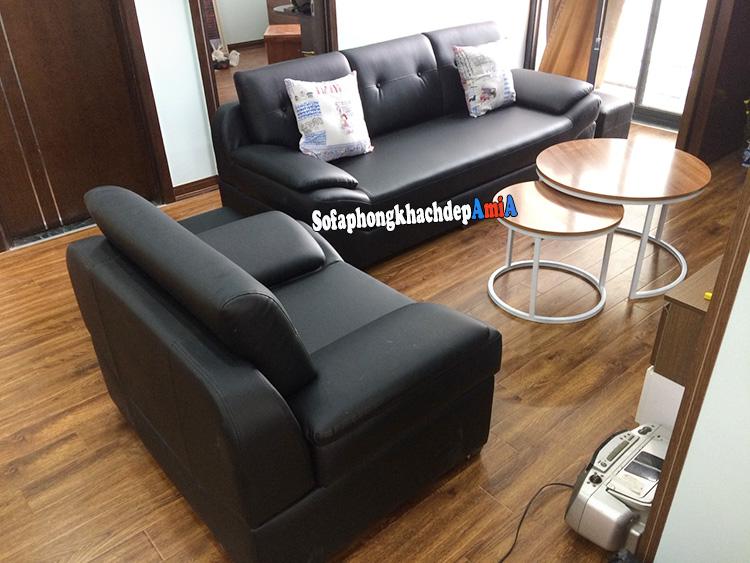 Hình ảnh Bộ bàn ghế sofa nhỏ gọn kèm sofa đơn có tay vịn chất liệu da hiện đại