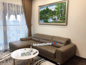 Hình ảnh Ghế sofa da cho phòng khách đẹp thiết kế hình chữ L tiện lợi, hiện đại