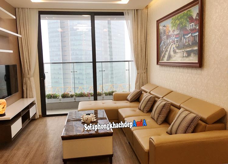 Hình ảnh Ghế sofa góc nhỏ đẹp hiện đại phòng khách chung cư bài trí dát tường tiết kiệm diện tích căn hộ