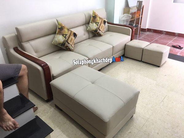 Hình ảnh Ghế sofa kích thước nhỏ xinh dạng văng da kèm đôn lớn và 2 đôn nhỏ