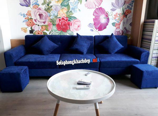 Hình ảnh Ghế sofa nhỏ xinh dạng văng nỉ thiết kế 3 chỗ kê vừa vặn trong phòng khách nhỏ
