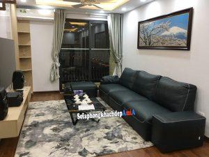 Hình ảnh Sofa da phòng khách đẹp dạng văng da hiện đại kê sát tường